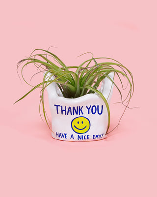 plant holder - thank you shopping bag