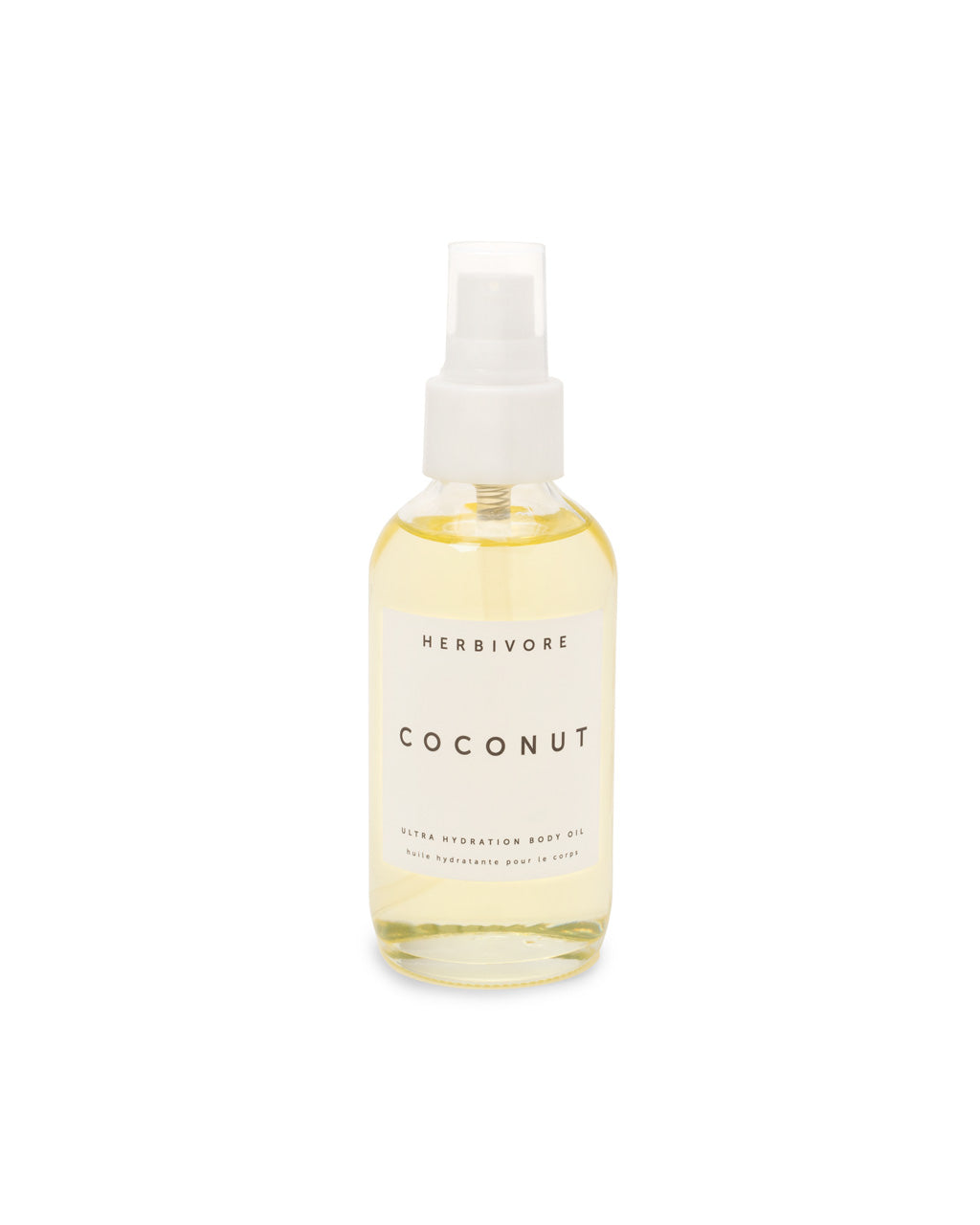 This Body Oil by Herbivore comes in a clear glass spray bottle.