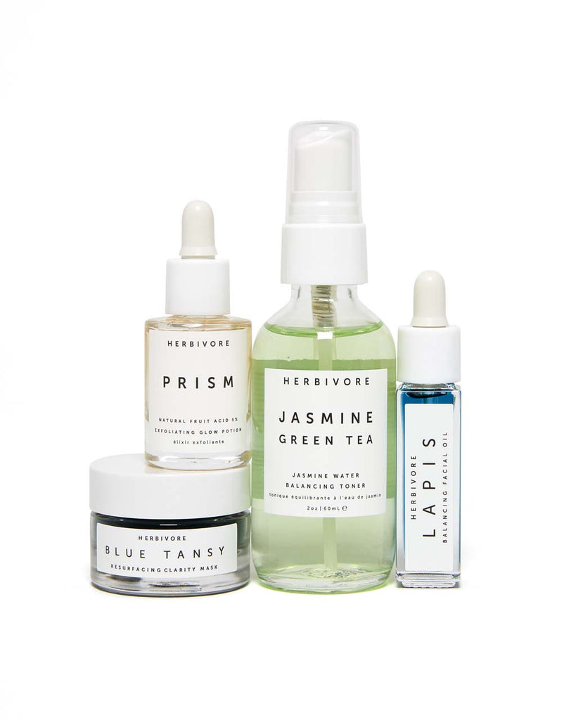 This skincare collection comes in two dropper bottles, a spray bottle, and a jar.