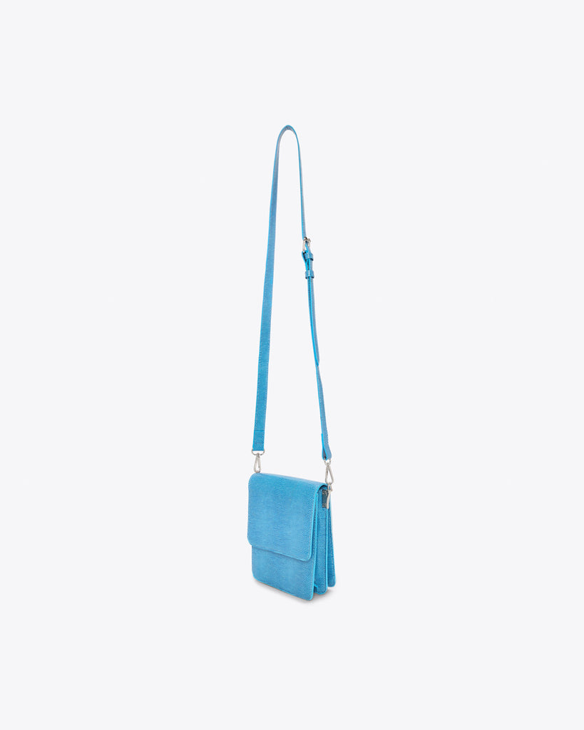 blue mini crossbody purse with an adjustable strap
