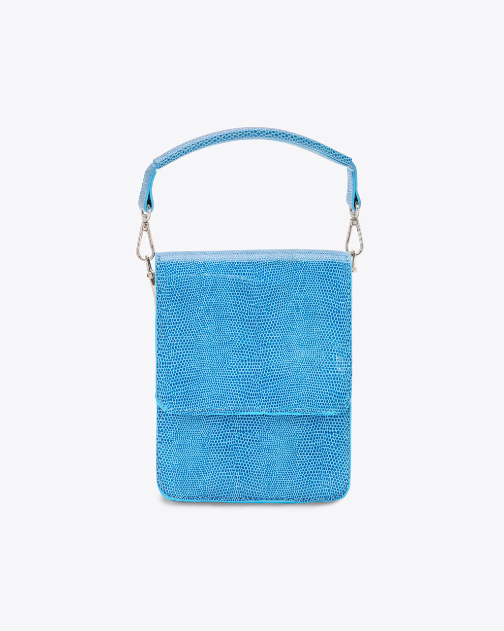 blue mini purse featuring a reptile texture shown with just top handle