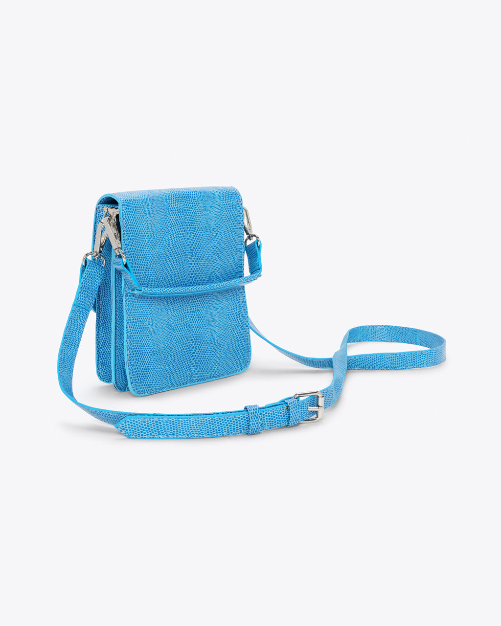 blue mini crossbody purse with an adjustable strap and a top handle