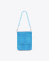 blue mini purse shown with crystal handle, that is sold separately