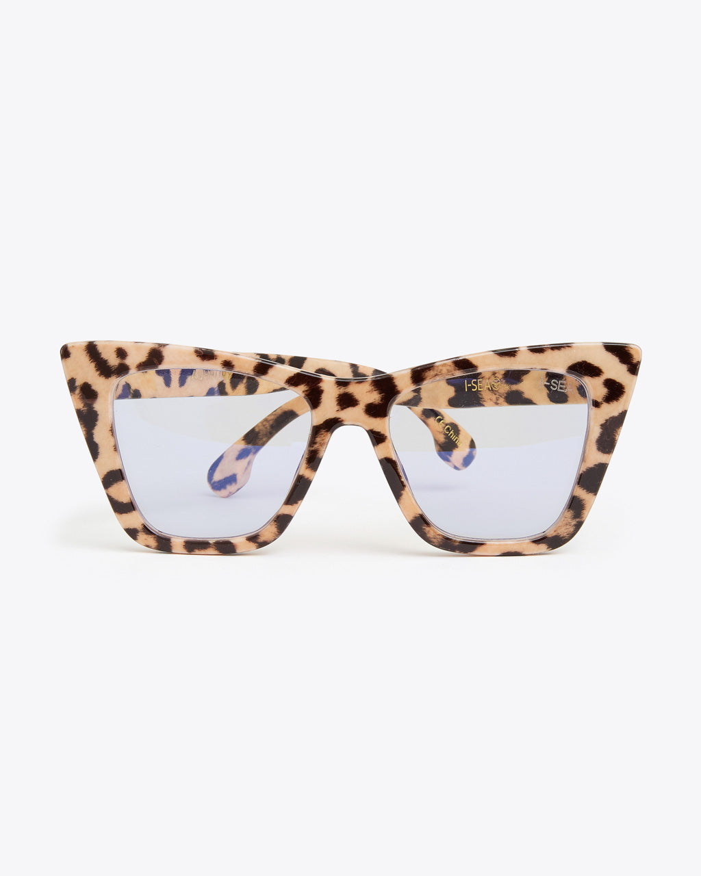 thick rimmed glasses in beige leopard with blue light lenses