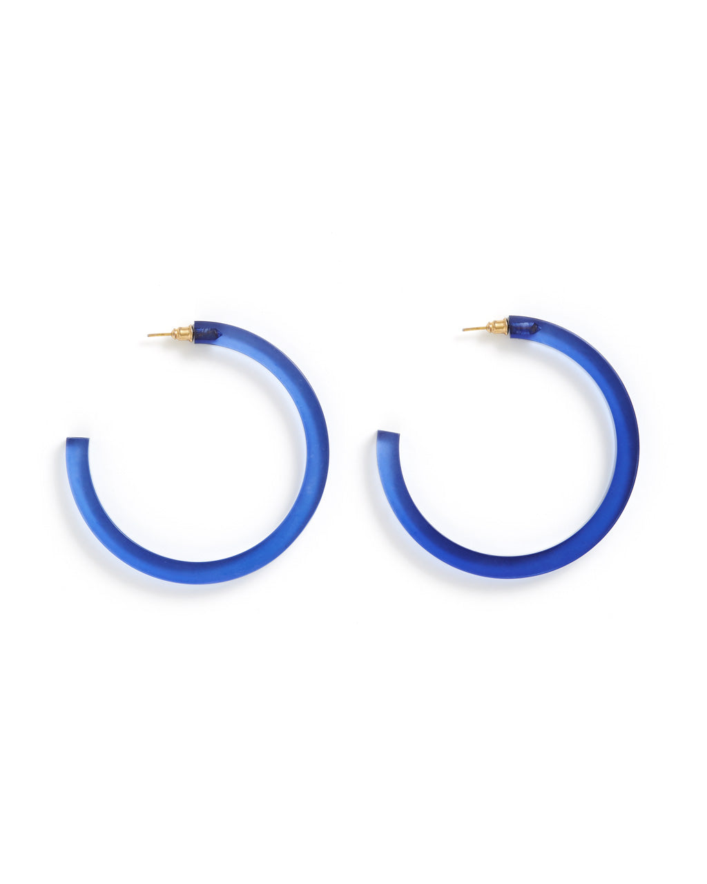Lapis Lucite Hoop Earrings