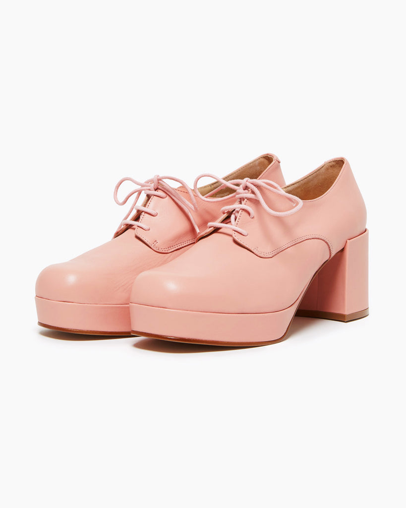 light pink platform shoes with a heel