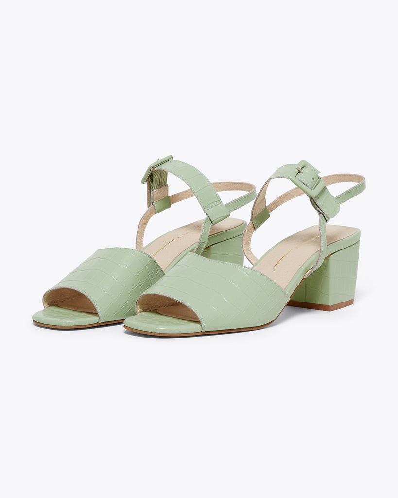 mint green sandals with 2 inch  heel