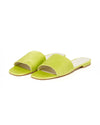 neon yellow wide strap sandals with a square toe