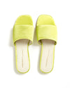 top view of neon yellow wide strap sandals with a square toe