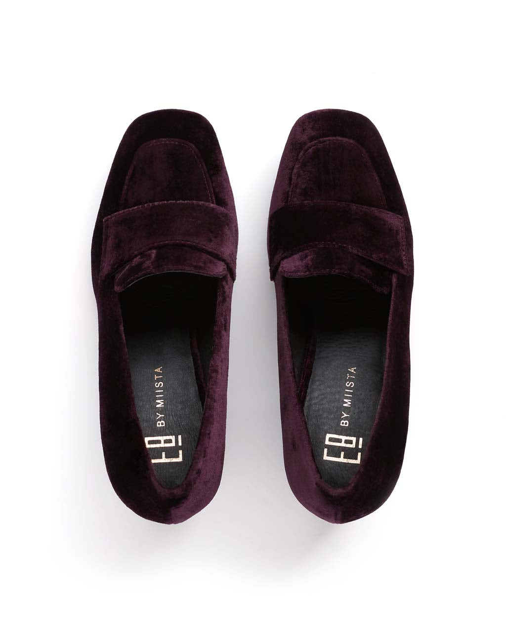 top view of dark red velvet loafers with the E8 by Miista logo on the insole