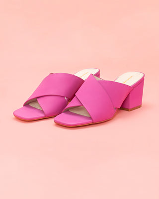 hunter leather heels - fuchsia