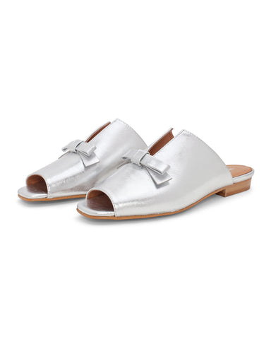 palace sandal - silver leather