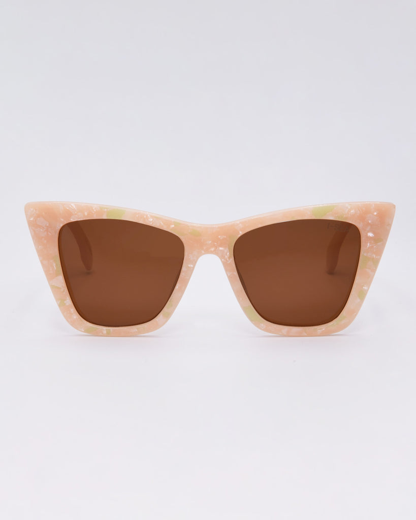 pink pearl sunglasses with light brown lenses