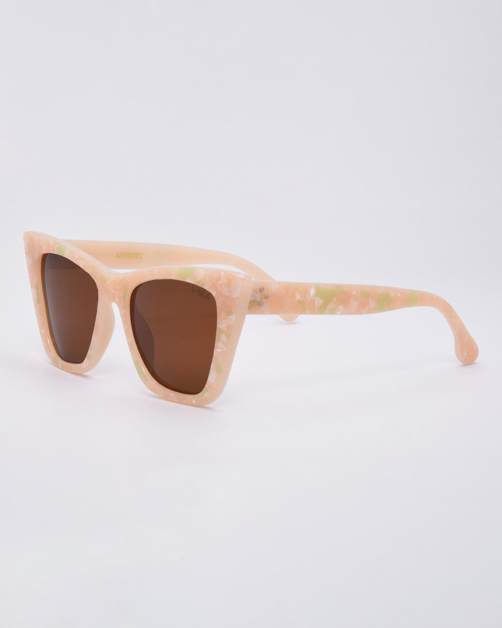 pink pearl sunglasses with light brown lenses side view
