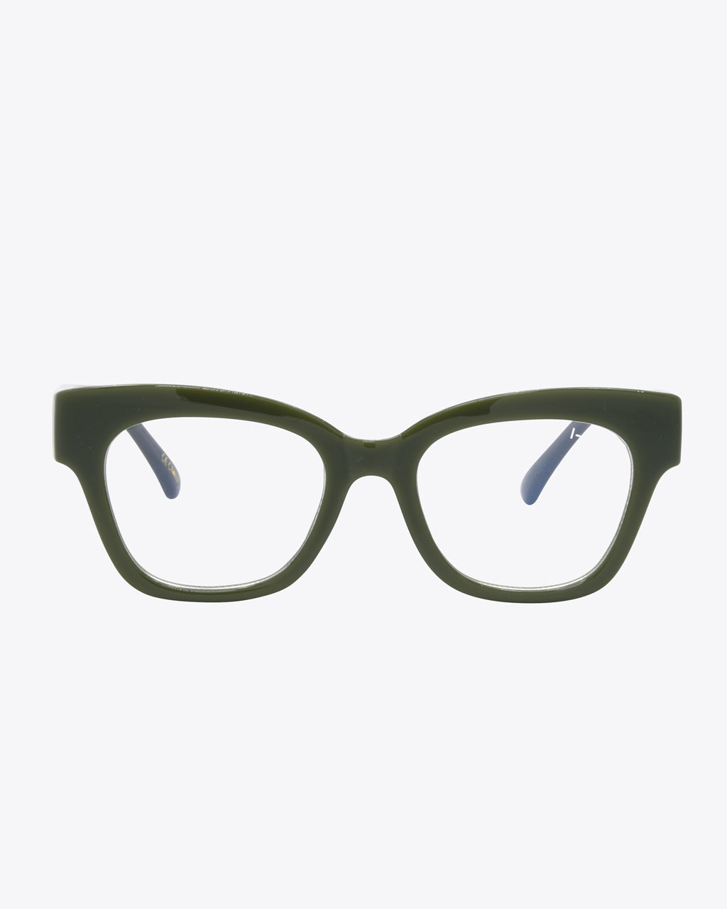 thick rimmed glasses in olive green
