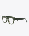 side view of thick rimmed glasses in olive green