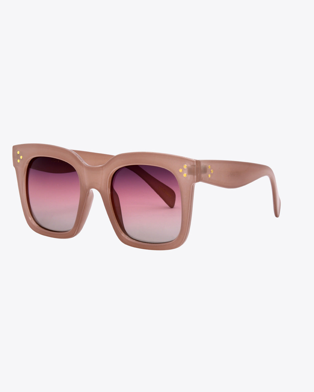 side view of pink thick rimmed sunglasses with gradient pink lenses