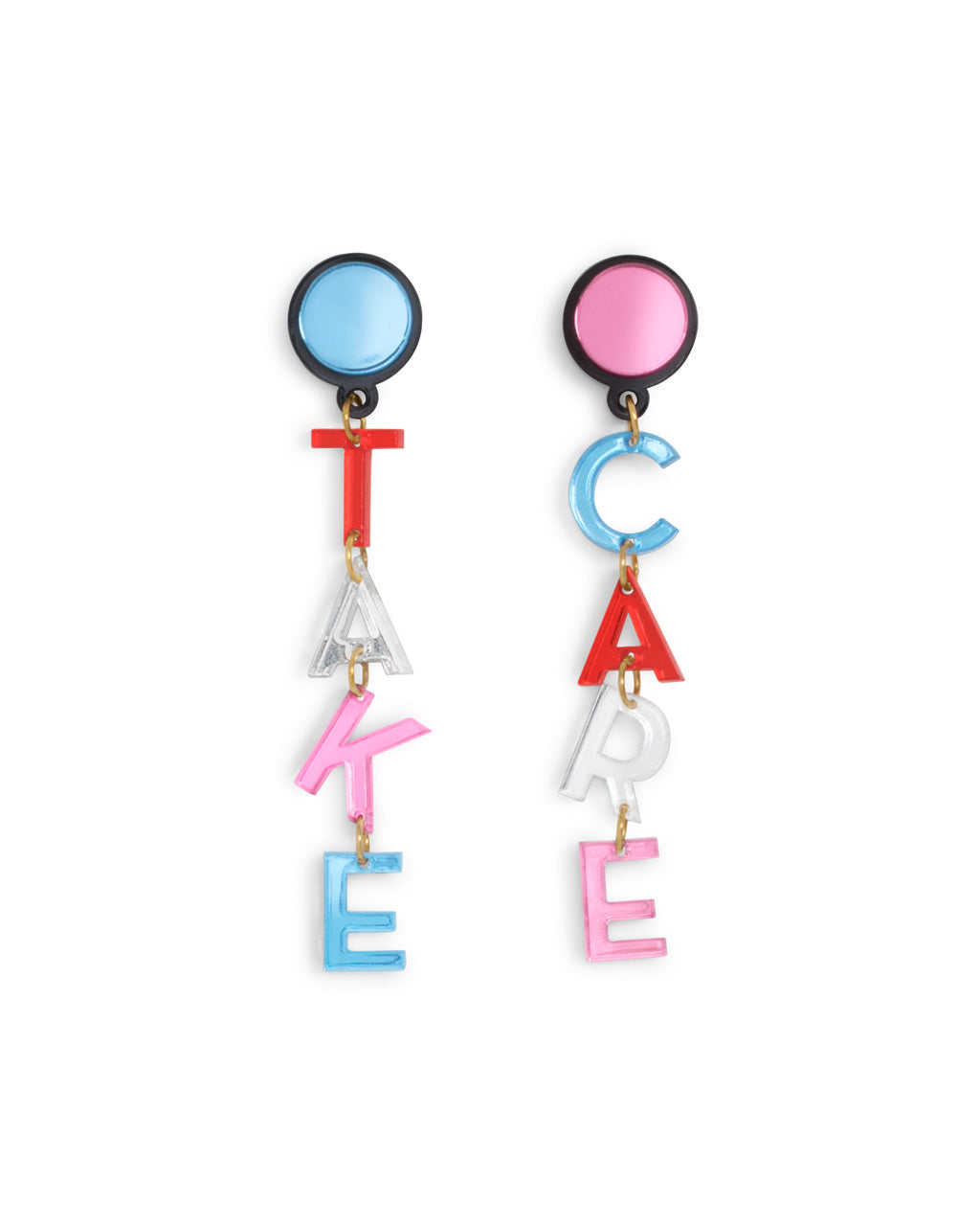 Laser cut acrylic earrings that say Take and Care
