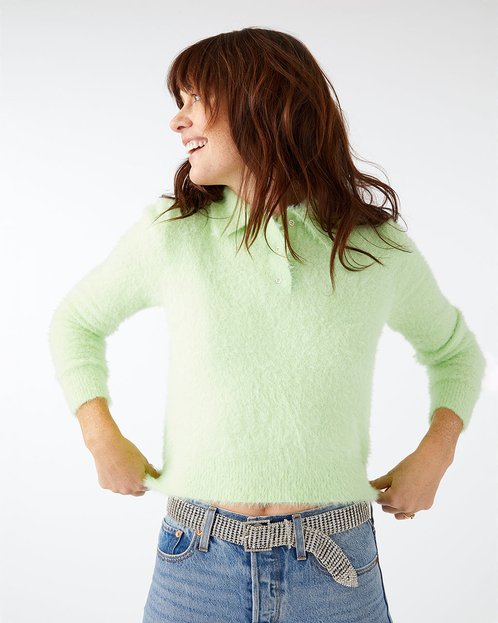 Neon lime green polo sweater.