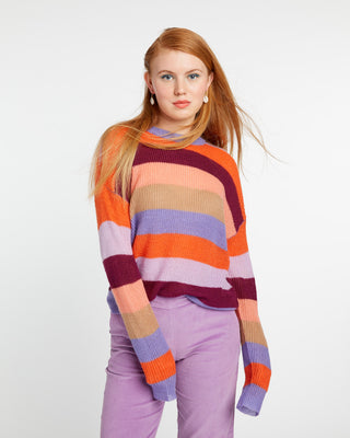 Multi-color striped sweater.
