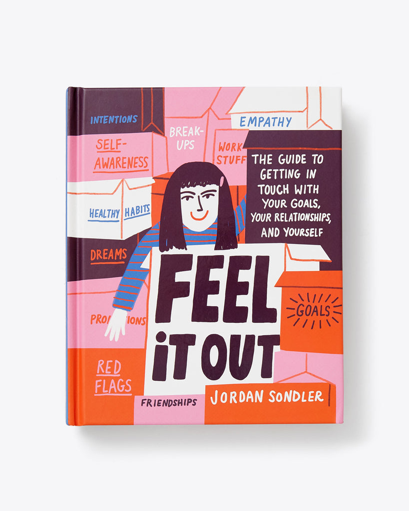 feel it out book cover with a drawing of a person and different quotes of words