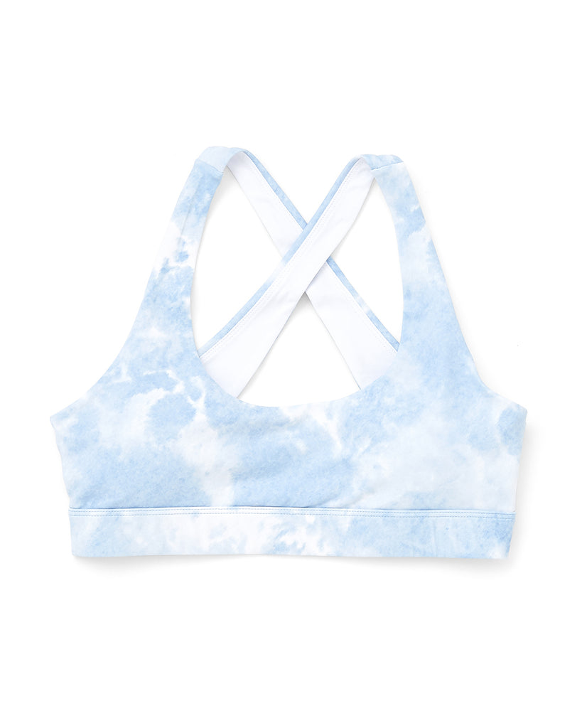 white and blue tie dye sports bra