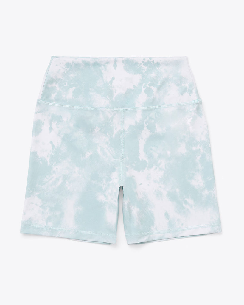 bike shorts in seafoam and white tie dye print.