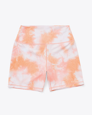 bike shorts in peach and white tie dye print.