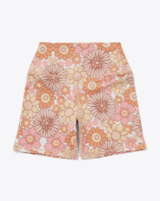 vintage floral biker shorts with pink and yellow pastel colors
