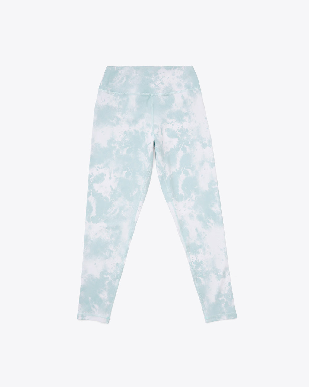 leggings in seafoam and white tie dye print.