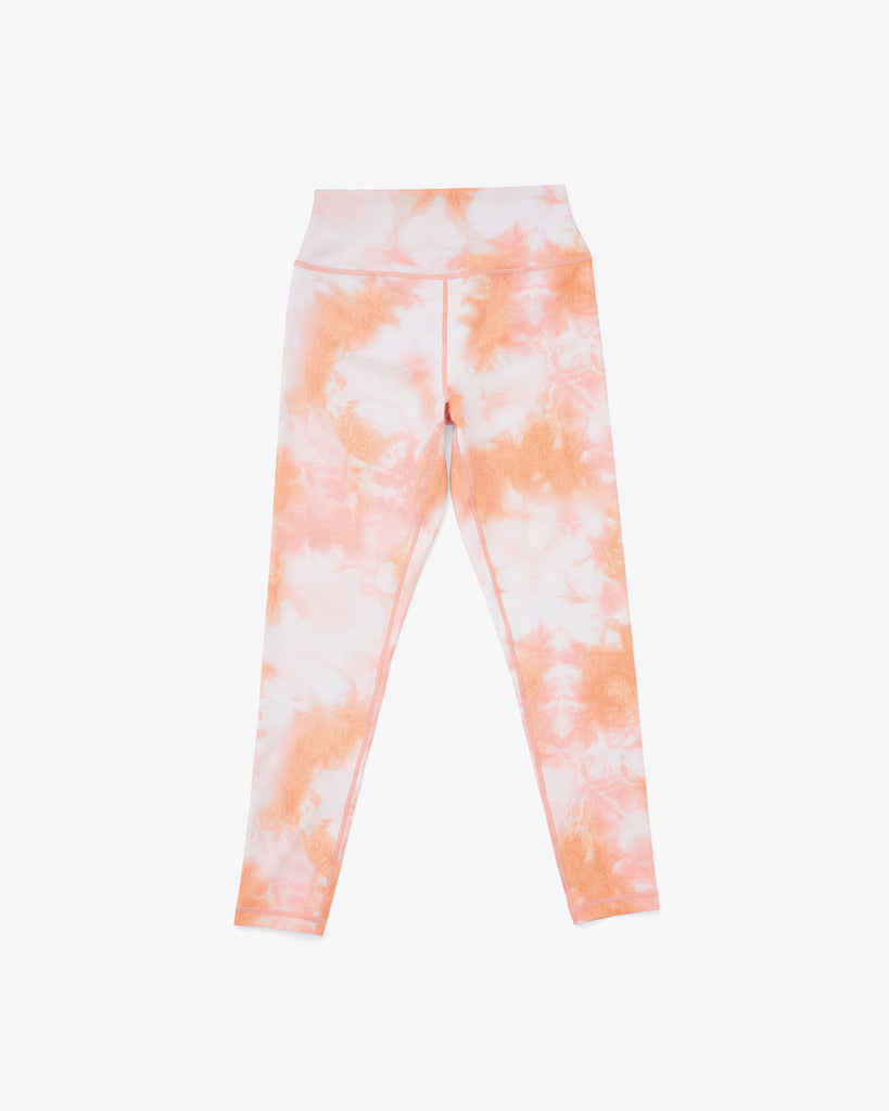 leggings in peach and white tie dye print.