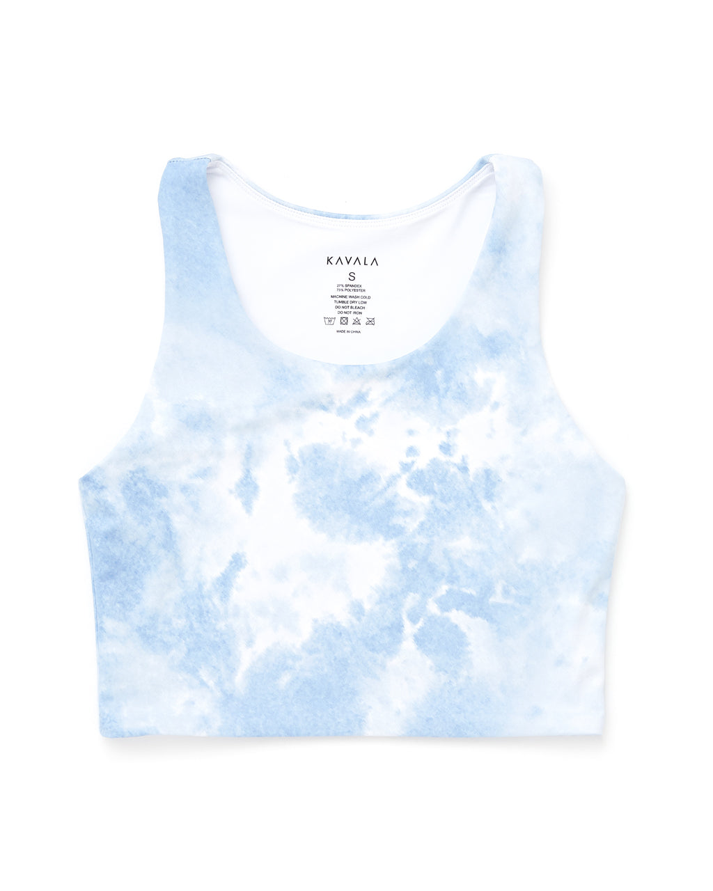 blue and white tie dye sports crop - front view