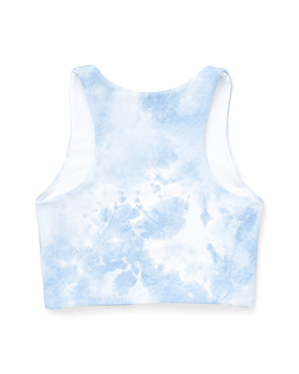 back of blue and white tie dye crop