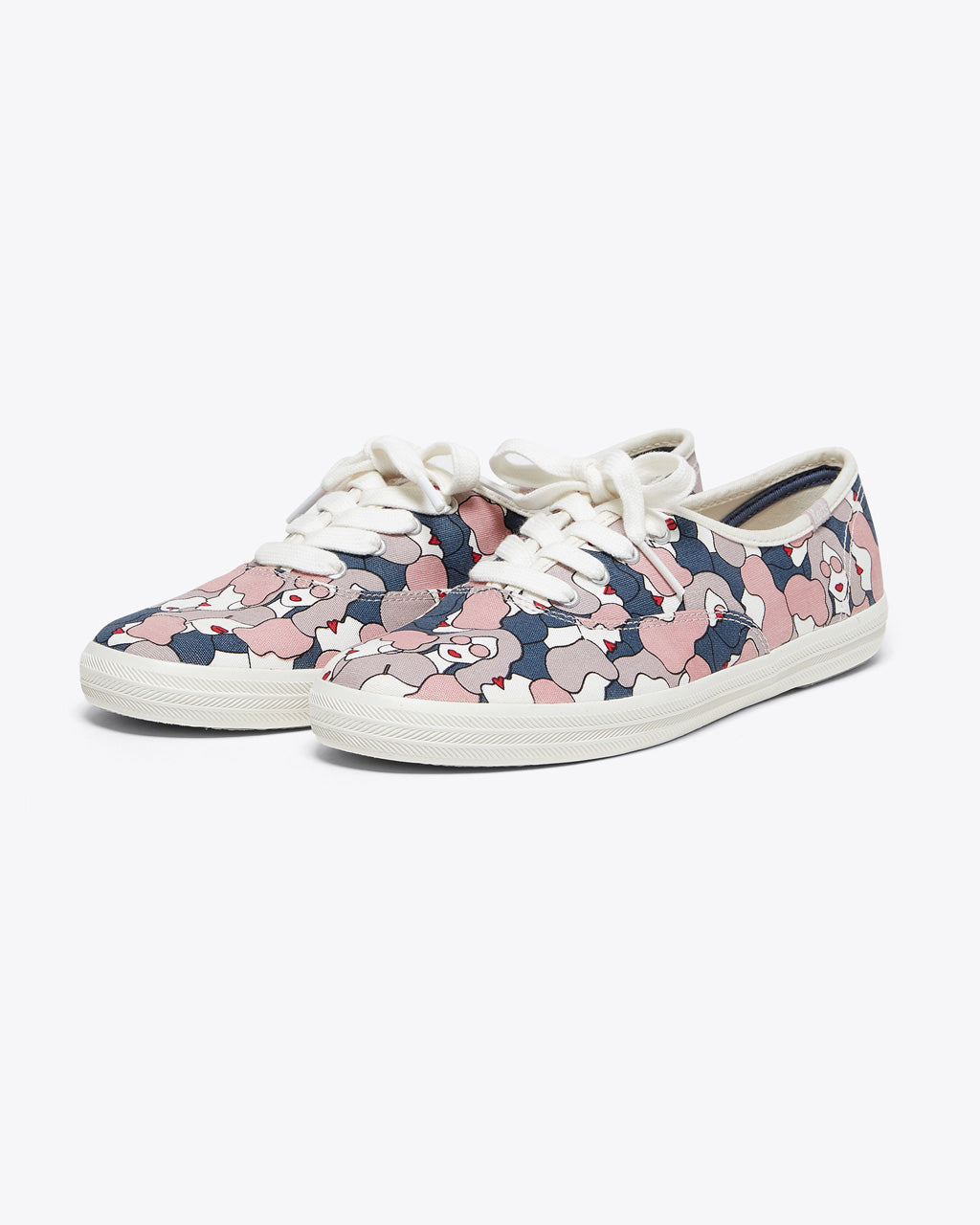 keds lace up champion shoes with cloud gray floral pattern