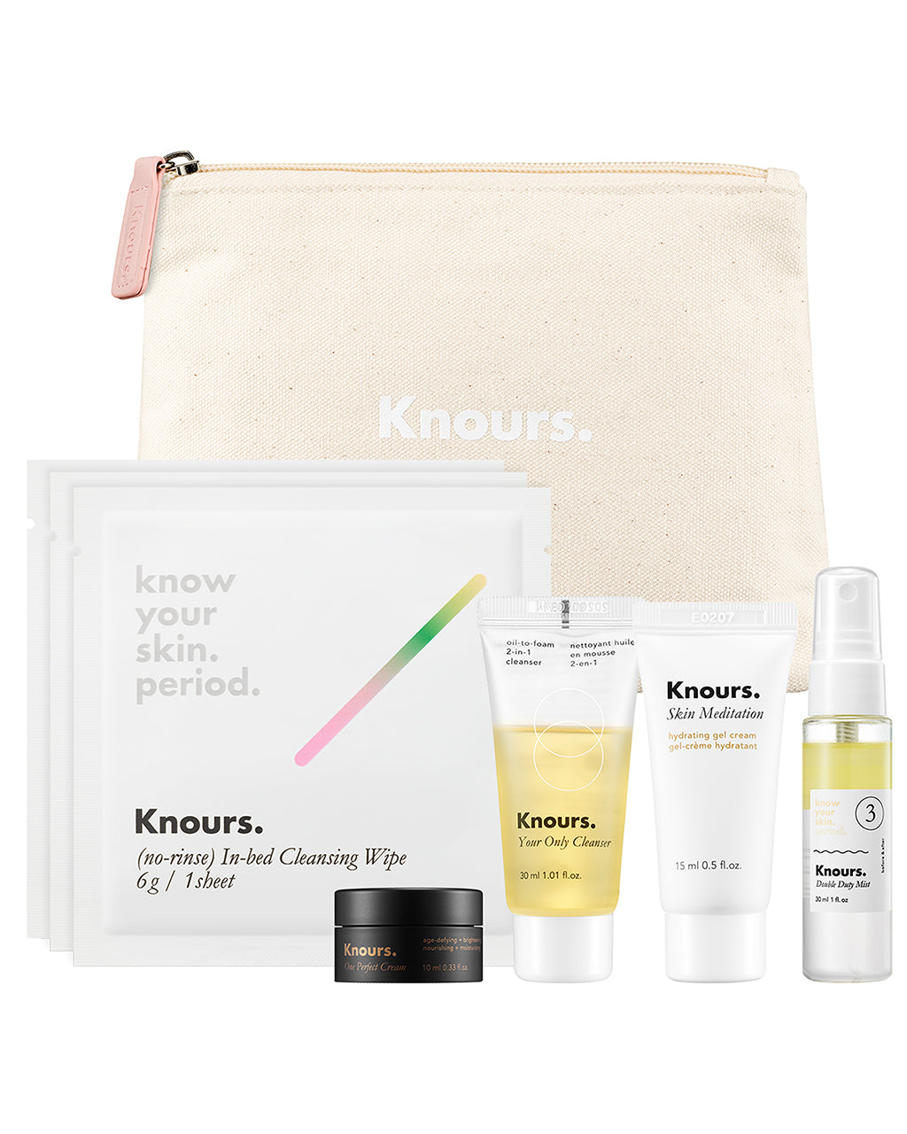 The Starter Kit features seven travel-size skin care products in a white canvas pouch.