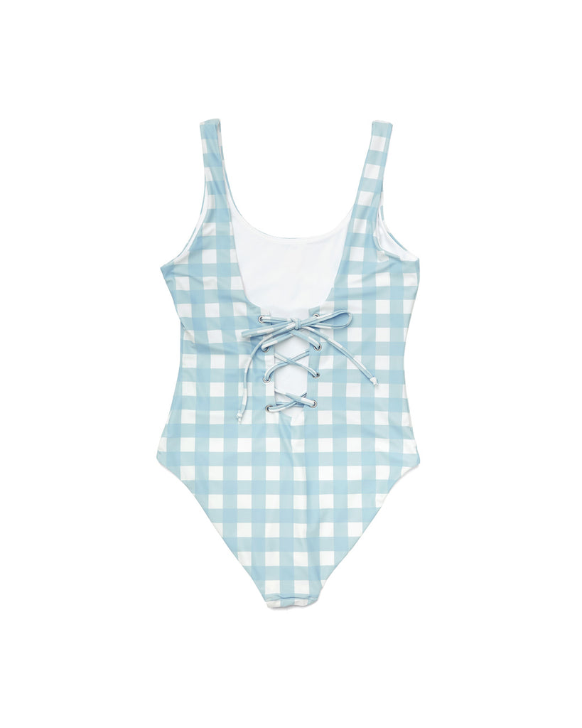 Gingham Lace up Swimsuit