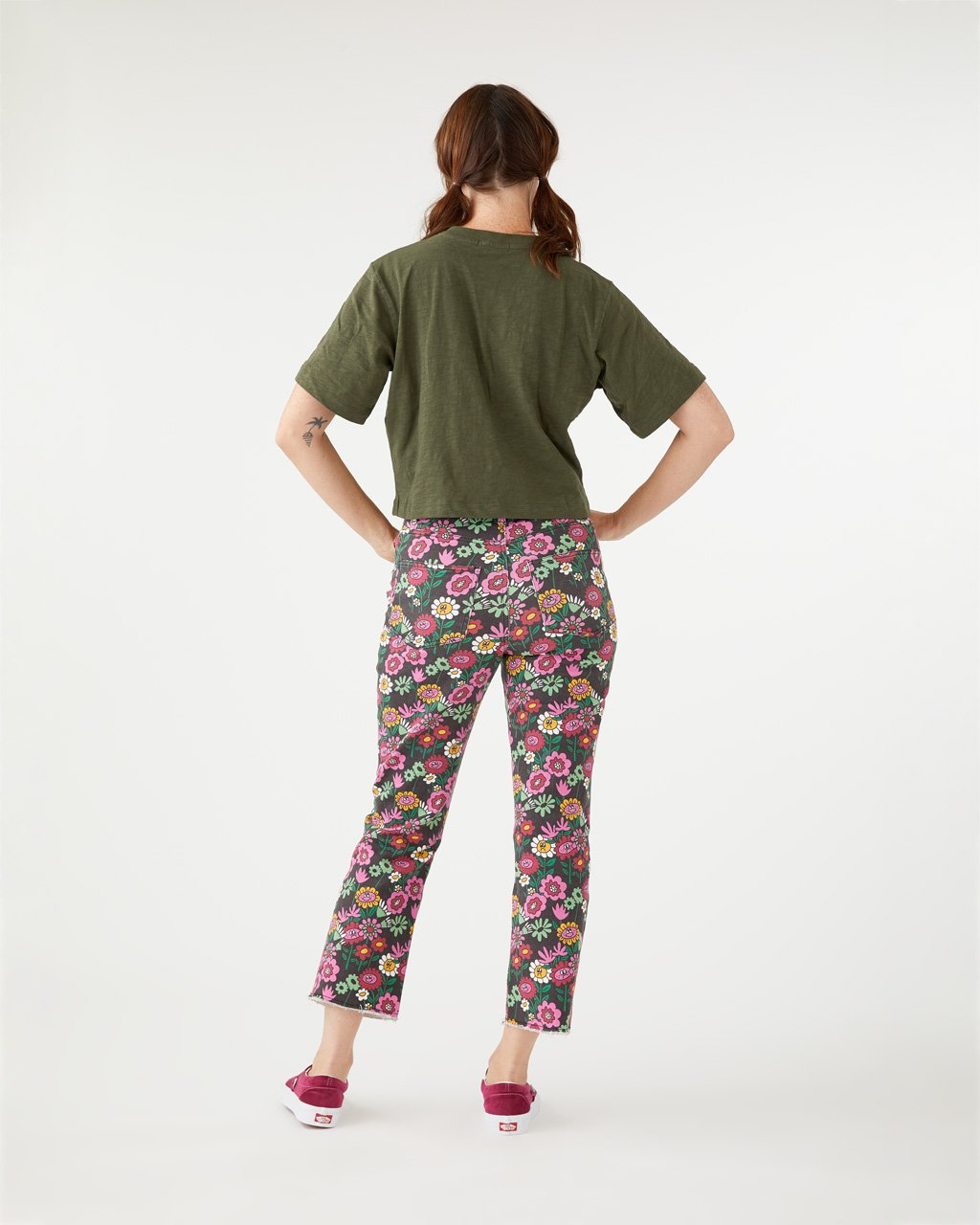 Jeans with an all-over floral motif.