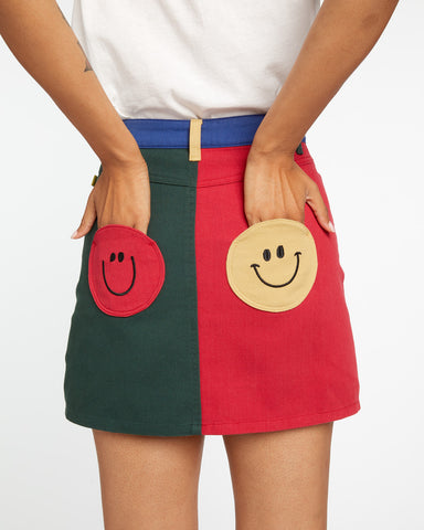 Mr. Happy Primary Color Block Skirt