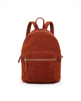 leather backpack - rust suede