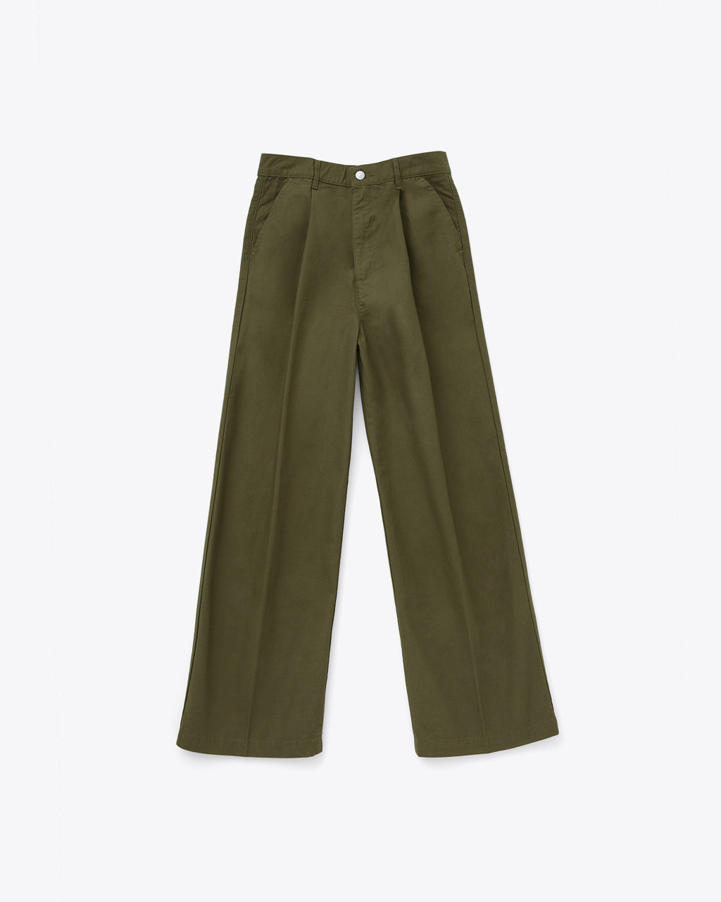 pleated olive pants with a loose fit