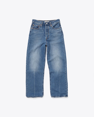 wide leg straight jeans, ankle length, button fly.