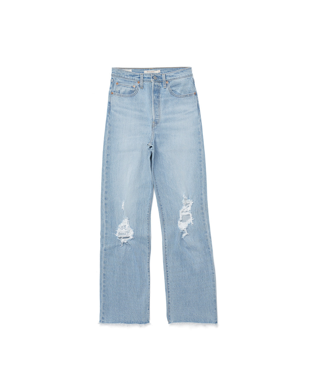 Super high rise, slightly distressed light wash denim.