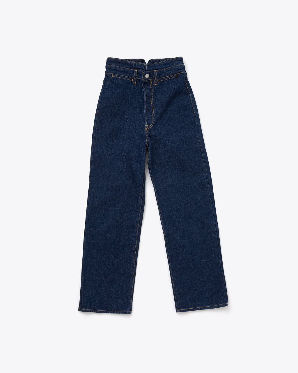 dark wash jean with a high waisted slim fit and a straight leg