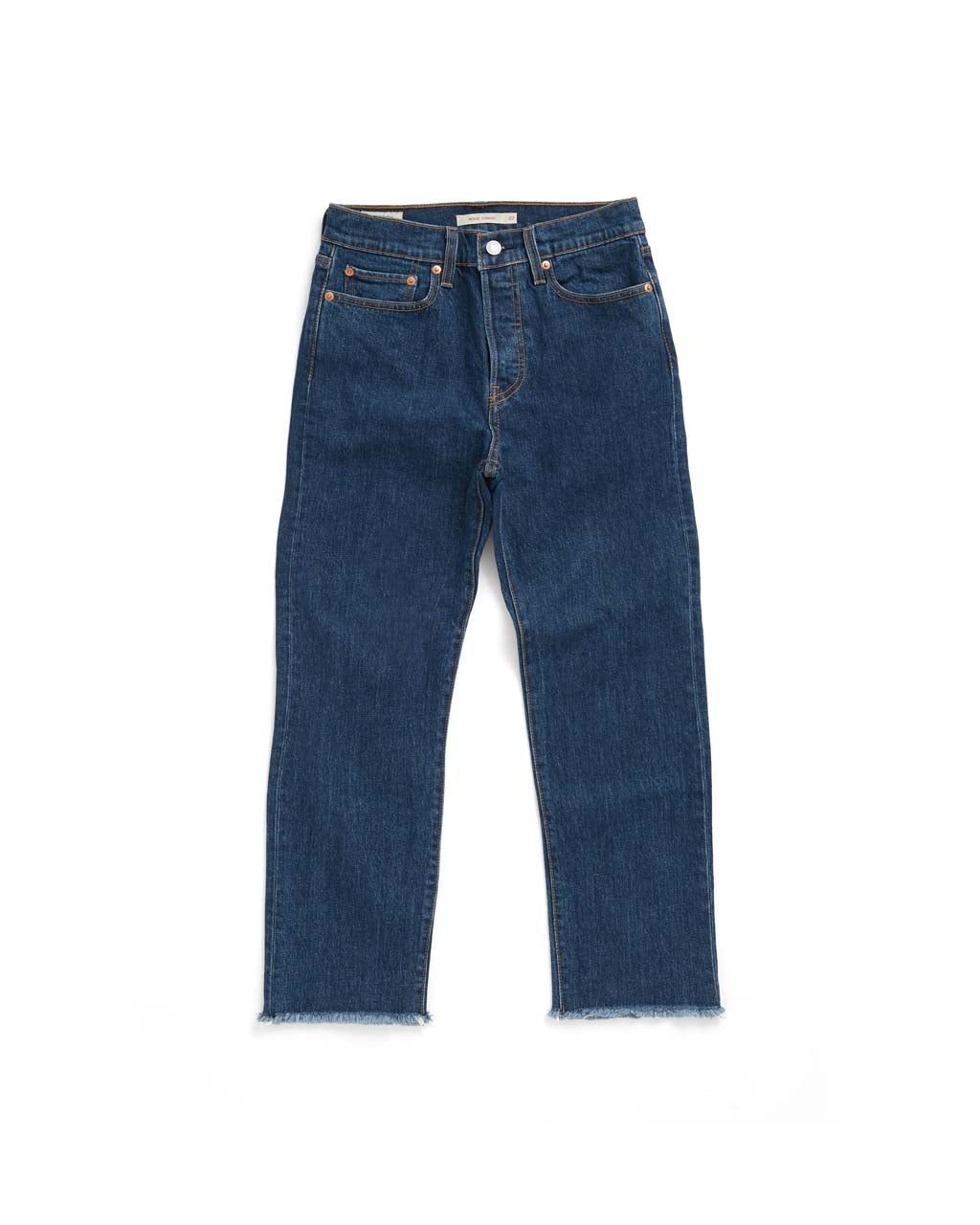 flat view of straight leg, cropped, frayed hem jeans