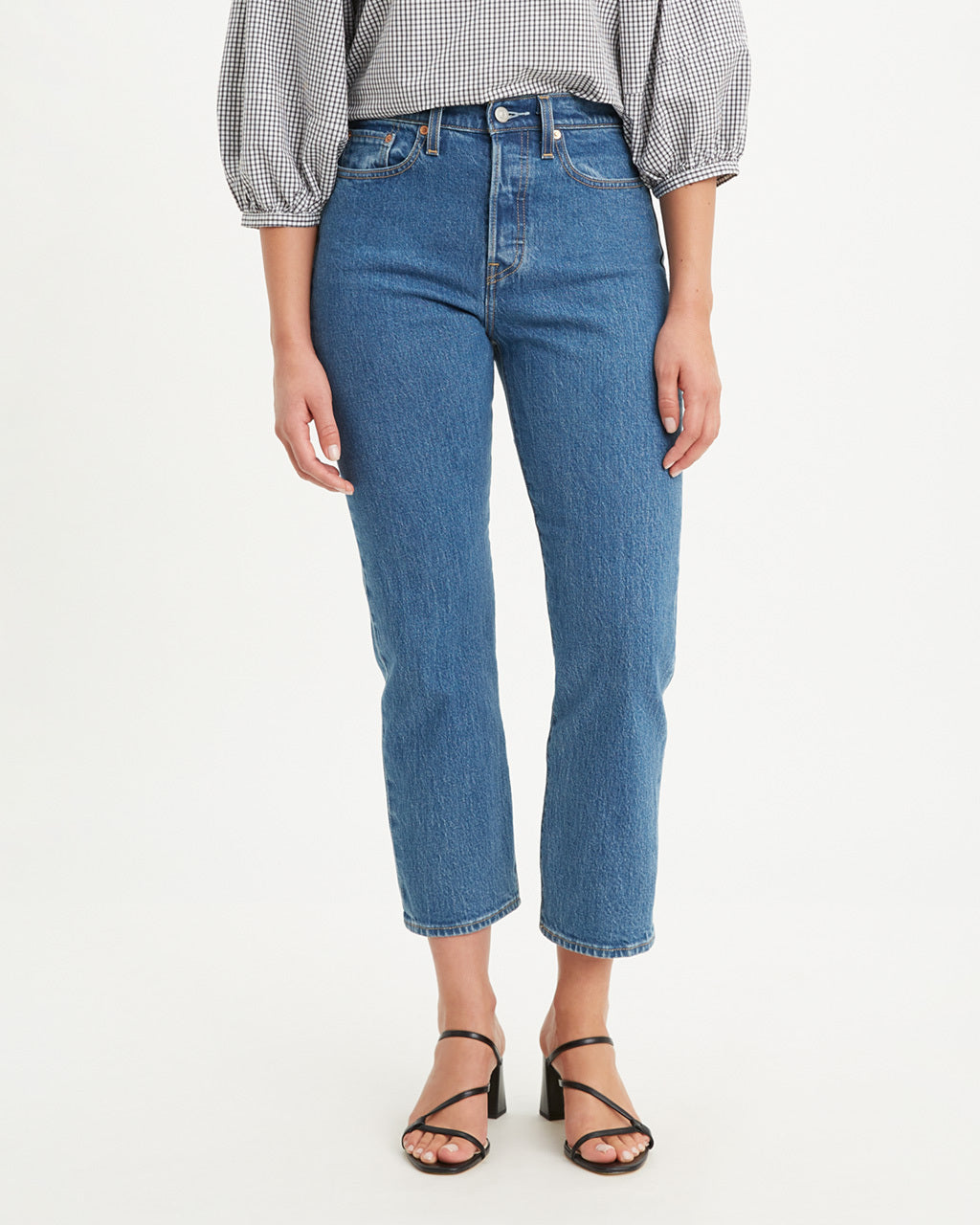Straight-leg jeans with classic blue wash