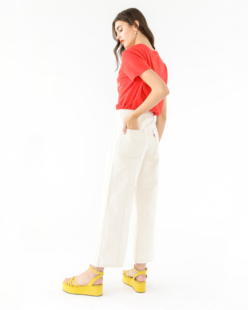 wide leg off white jeans shown on model
