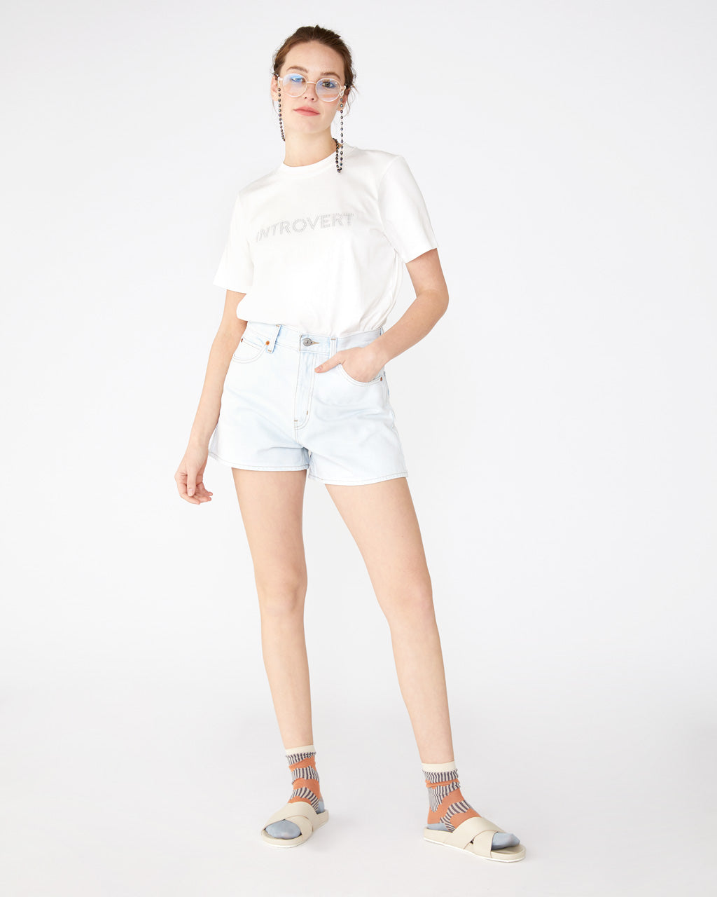 Light wash wide leg shorts with a high waisted fit