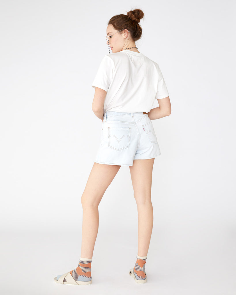 Light wash wide leg shorts with the classic levi's back pockets