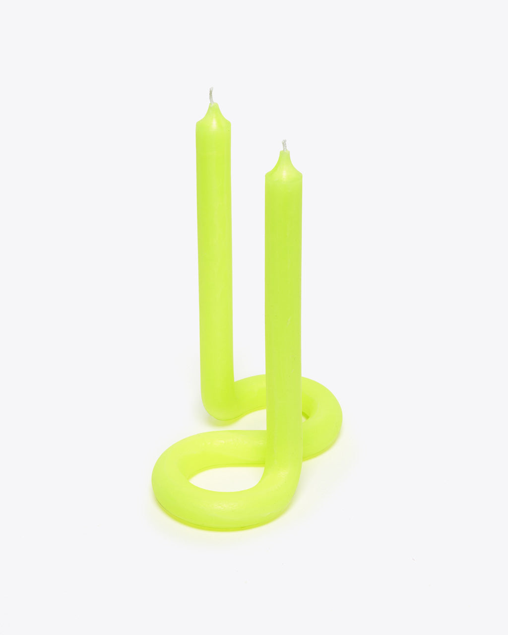 neon yellow twisted candle with 2 wicks
