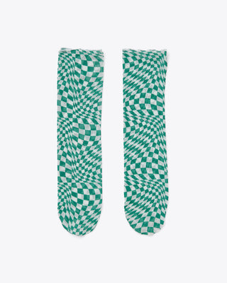 green and white wrapped checker print socks
